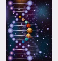 Deoxyribonucleic acid dna plnets night sky banner vector