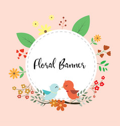 design of floral banner with love birds couple vector image