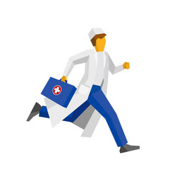 doctor in white coat running with first aid box vector image