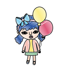 Doodle girl child with two tails and balloons vector