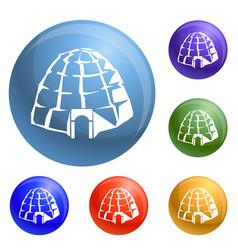 Eskimo igloo icons set vector