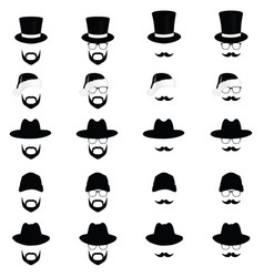face with different hat vector image