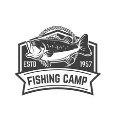 Fishing camp emblem template with perch design vector