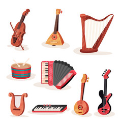 Flat set of various strings keyboards and vector