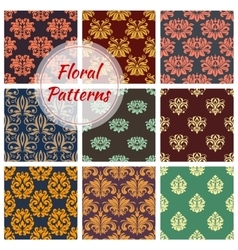 Floral seamless pattern with damask flourishes vector image
