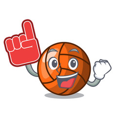 Foam finger volleyball mascot cartoon style vector