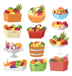 Fruit basket fruity apple banana and exotic vector