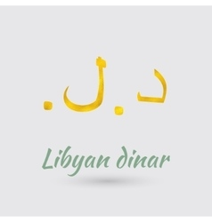 Golden Symbol of the Libyan dinar vector image