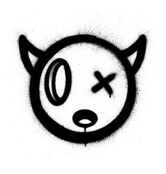 Graffiti little devil icon sprayed in black over vector
