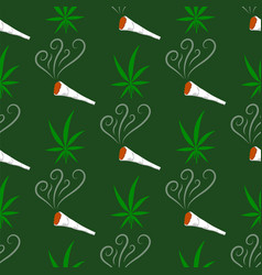 green cannabis leaves seamless pattern drug vector image