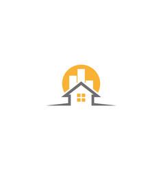 home symbol a big sun behind house logo design vector image