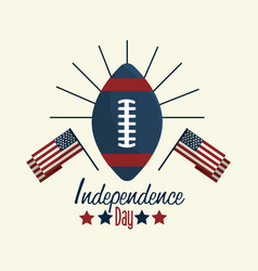 Independence day with flag and american football vector