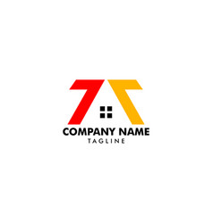 Initial letter number 77 house real estate logo vector
