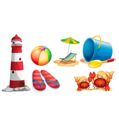 Lighthouse and different kinds beach items vector