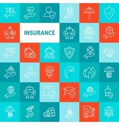 Line Art Insurance Icons Set vector image