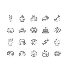 line dessert icons vector image