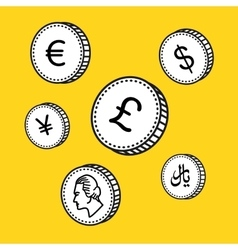 Line hand drawn coins Black and white vector