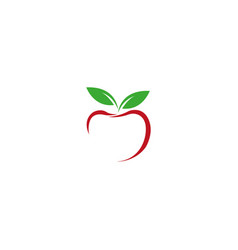 Lined apple with green leaf logo vector