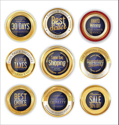 Luxury golden badges collection 4 vector
