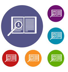 Magnifying glass over open book icons set vector