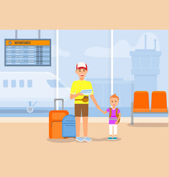 man travel with boy and luggage by plane voyage vector image