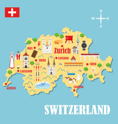 map switzerland with landmarks vector image