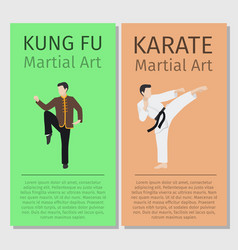 Martial arts kung fu karate flyers vector