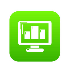monitor icon green vector image