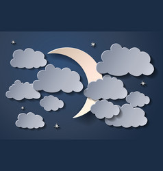 moon in night sky and many clouds vector image