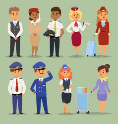 officers flight pilots flight attendants vector image