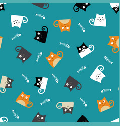 Pattern with cats and fishbones vector