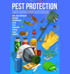 Pest control insect protection service poster vector
