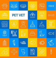 Pet vet line icons vector