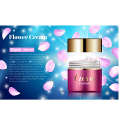 Pink cream bank whitening lotion ads floral vector