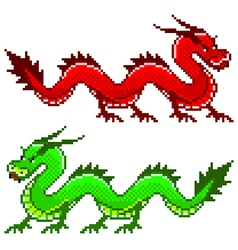 Pixel dragon isolated vector