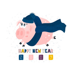 postcard with cute funny pig - symbol year vector image