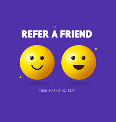 realistic detailed 3d refer a friend concept ad vector image