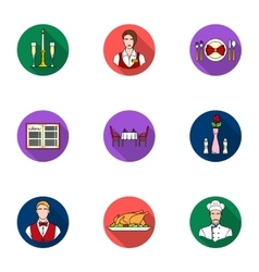 Restaurant set icons in flat style Big collection vector