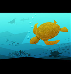 Sea turtle swimming in deep blue sea art vector