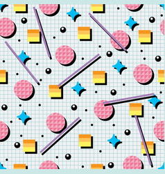 Seamless 80s or 90s background pattern vector