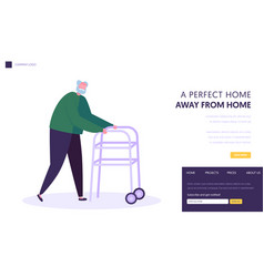 senior man aged grandfather moving with help vector image