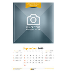 September 2018 wall calendar for 2018 year design vector