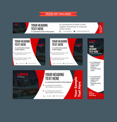 set of abstract red and whie professional web vector image