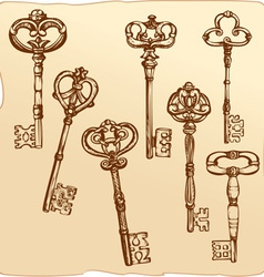 Set of Antique Keys vector