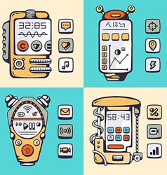 Set of detailed robot constructor phones of the vector