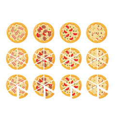 Set of flat pizza icons isolated on white vector