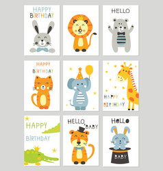 Set of greeting cards with cute animals vector