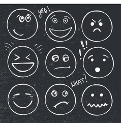 Set of hand drawn faces moods smiles vector
