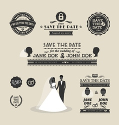 set wedding typography vector image