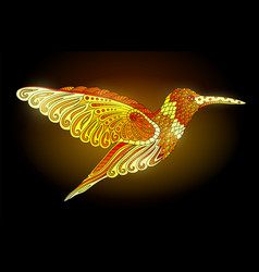 shiny golden hummingbird vector image
